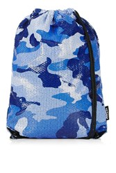 Blue Camo Sequin Drawstring Bag By Jaded London