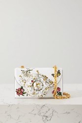 Oscar De La Renta Alibi Printed Textured Leather Shoulder Bag Ecru