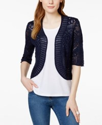 Jm Collection Elbow Sleeve Cropped Crochet Cardigan Only At Macy's Intrepid Blue