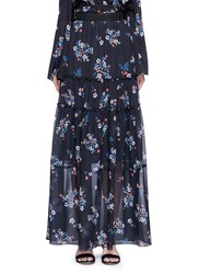 Nicholas 'Posie' Floral Print Tiered Silk Maxi Skirt Multi Colour
