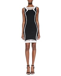 Ohne Titel Two Tone Contour Pattern Knit Sheath Dress Black White