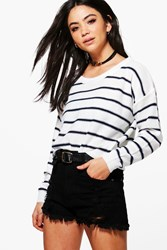 Boohoo Abigail Nautical Stripe Jumper White