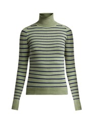 Joostricot Striped Cotton Blend Roll Neck Sweater Green Multi