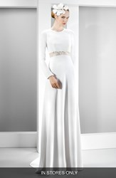 Women's Jes S Peir Illusion Lace Inset Long Sleeve Crepe Gown In Stores Only