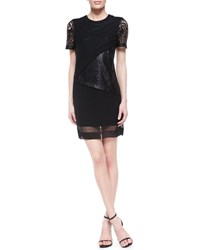 Robert Rodriguez Silk And Lace Illusion Overlay Dress