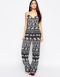 Motel Evelyn Jumpsuit In Elephant Print Black