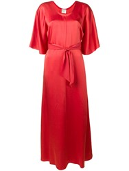 Forte Forte Belted Maxi Dress Red