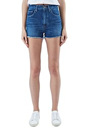 Saint Laurent High Waisted Denim Shorts Blue