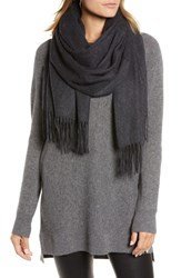 Halogen Solid Cashmere Wrap Scarf Black Rock Heather