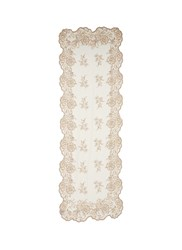 Franco Ferrari Floral Lace Embroidered Wool Blend Scarf White