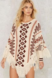 Print All Over Me Fringe Poncho Ivory