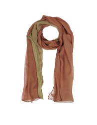 Laura Biagiotti Gradient Burgundy Light Green Silk Long Scarf