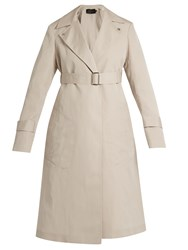 Calvin Klein Peak Lapel Long Silk Blend Coat Beige