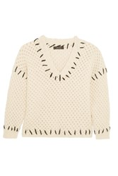 Isabel Marant Goldy Chunky Knit Wool Blend Sweater Ecru