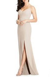 Dessy Collection Crisscross Seam Crepe Gown Cameo