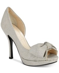 Caparros Lucky Peep Toe Bow Evening Pumps Women's Shoes Silver Fabric