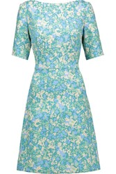 Lela Rose Floral Print Jacquard Dress Light Blue