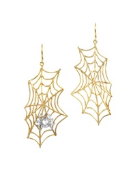 Bernard Delettrez Spiderweb Bronze And Silver Earrings Gold