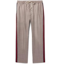Gucci Webbing Trimmed Puppytooth Wool And Mohair Blend Trousers Neutral