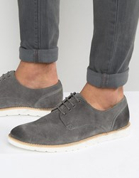Frank Wright Derby Shoes In Grey Suede Grey