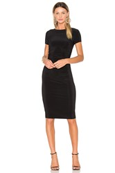 Norma Kamali Short Sleeve Shirred Dress Black