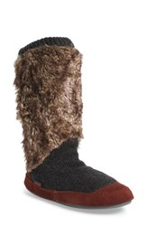 Acorn Women's Slouch Slipper Boot Charcoal Faux Fur