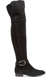 Gucci Dionysus Suede Over The Knee Boots Black