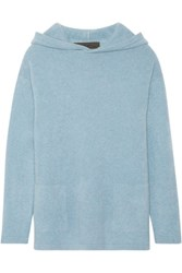 The Elder Statesman Hooded Cashmere Sweater Light Blue