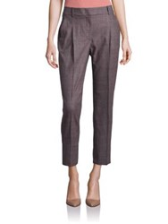 Peserico Plaid Cropped Pants Brown