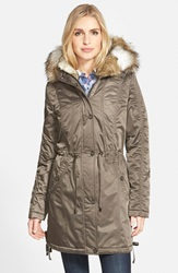 Laundry By Shelli Segal Faux Fur Trim Hooded Satin Parka Cadet Olive