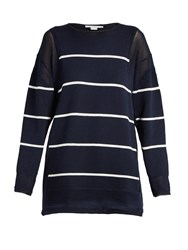 Stella Mccartney Deconstructed Striped Cotton Sweater Navy Stripe