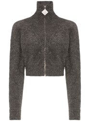 Alessandra Rich Crystal Embellished Cropped Mohair Blend Cardigan Grey