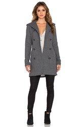 James Perse Double Breasted Hoodie Coat Gray