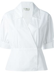 Fendi Shortsleeved Wrap Shirt White