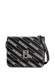 Balenciaga Sm Bdot Logo Printed Leather Bag Black