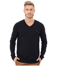 Lacoste Mixed Stretch Wool Rib V Neck Sweater Navy Blue Navy Blue Men's Sweater
