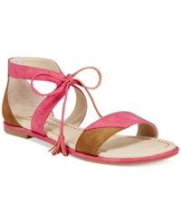 Rialto Robyn Lace Up Flat Sandals Women's Shoes Fuchsia Walnut