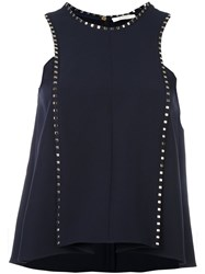 Versace Collection Ruffled Sleeveless Blouse Blue
