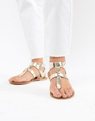 Warehouse Leather Toe Post T Bar Sandals Gold