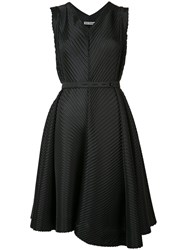 Issey Miyake Slant Pleated Dress Black