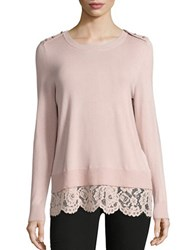 Karl Lagerfeld Crewneck Long Sleeve Knit Top Blush