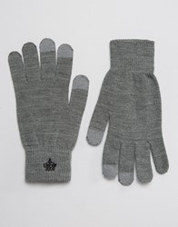 French Connection Touchscreen Gloves Grey Black