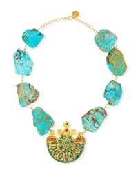 Devon Leigh Turquoise Slab Pendant Necklace Gold