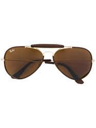 Ray Ban Leather Trimmed Aviator Sunglasses Unisex Leather Metal Brown