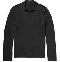 James Perse Cotton Cashmere And Wool Blend Polo Shirt Gray
