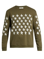 Valentino Stars Print Cotton Blend Jersey Sweatshirt Green