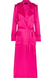 Michael Lo Sordo Silk Satin Trench Coat Pink