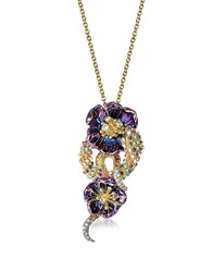 Roberto Cavalli Purple Flower Goldtone Brass Necklace W Crystals