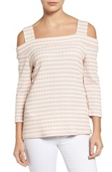 Kut From The Kloth Women's Fridi Texture Stripe Cold Shoulder Top Pink White