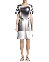 Lafayette 148 New York Brandon Bedford Striped Drawcord Dress Delft Multi